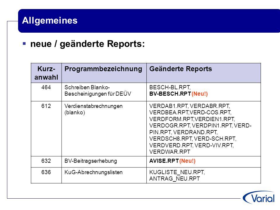 neue / geänderte Reports: