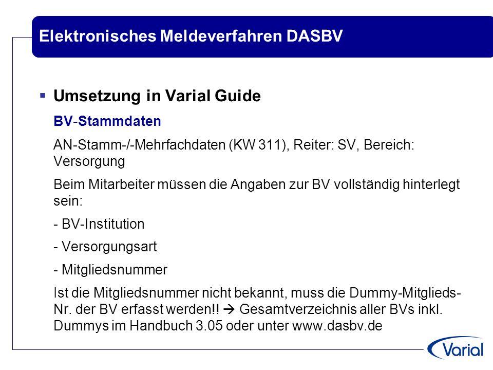 Elektronisches Meldeverfahren DASBV