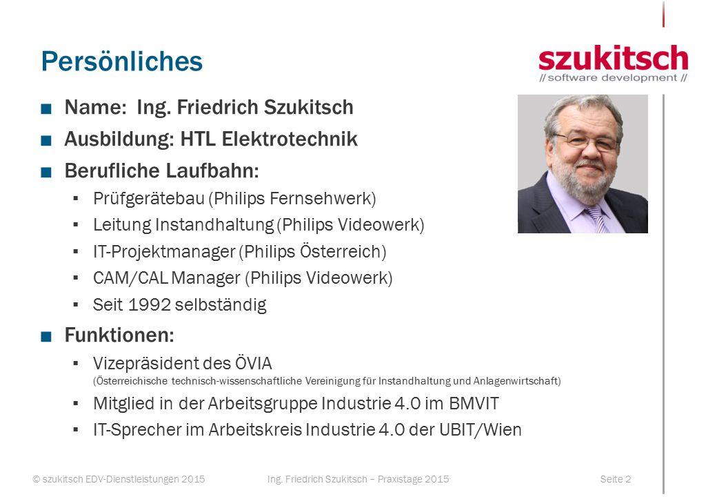 Persönliches Name: Ing. Friedrich Szukitsch