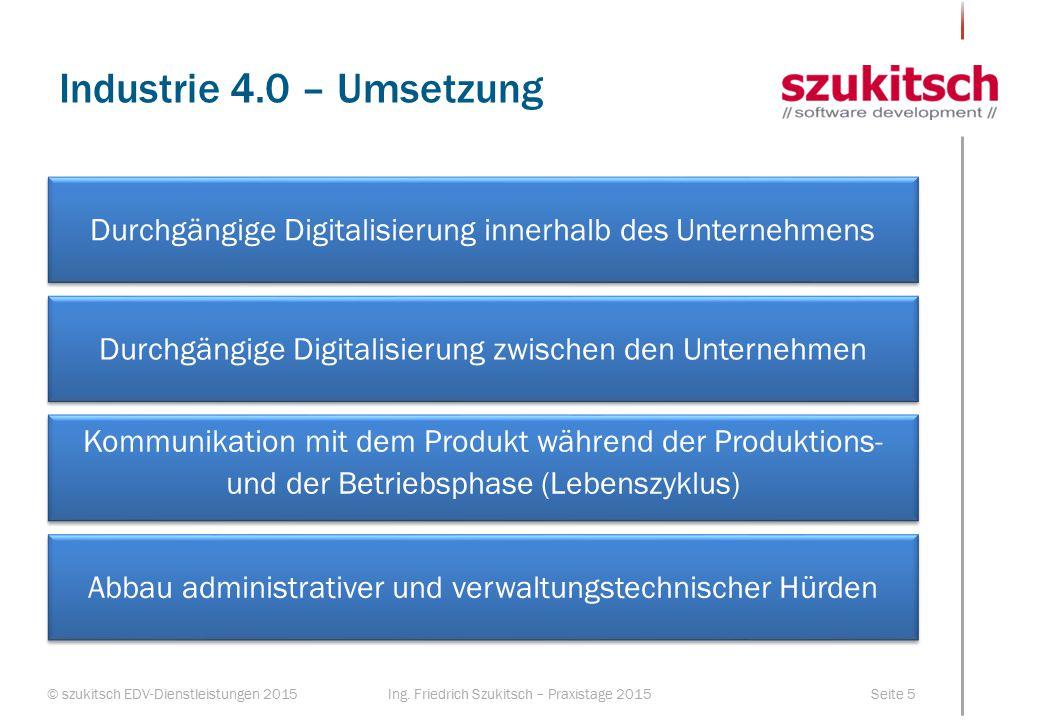 Industrie 4.0 – Umsetzung Durchgängige Digitalisierung innerhalb des Unternehmens. Durchgängige Digitalisierung zwischen den Unternehmen.