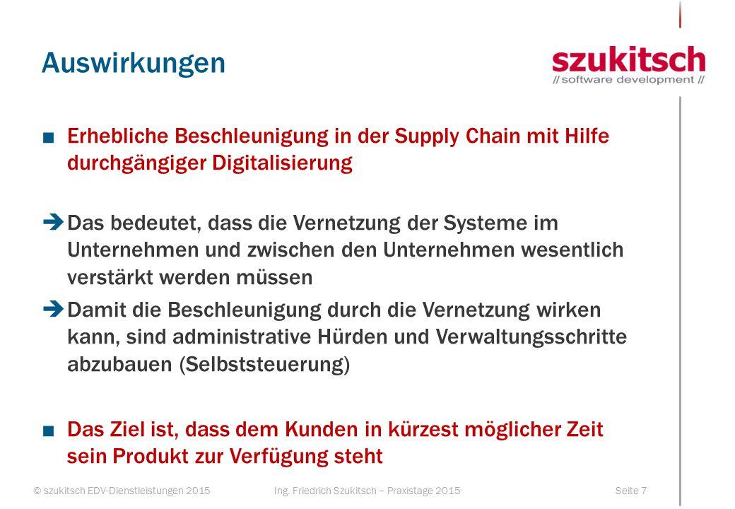 Auswirkungen Erhebliche Beschleunigung in der Supply Chain mit Hilfe durchgängiger Digitalisierung.