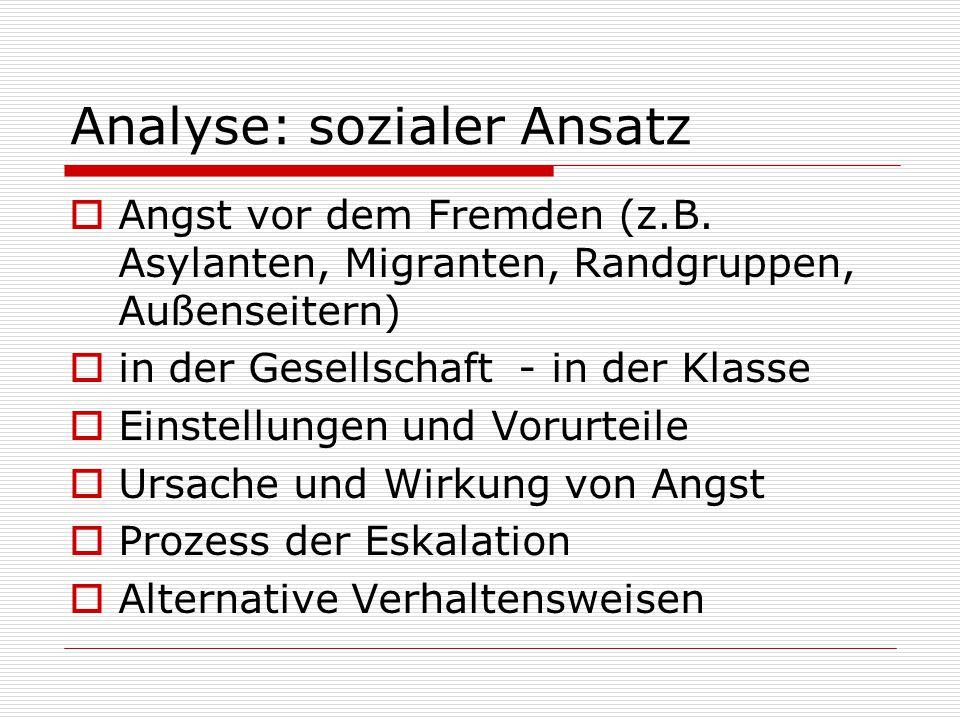 Analyse: sozialer Ansatz