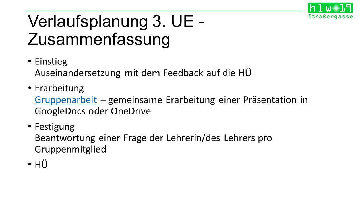 Verlaufsplanung 3. UE - Zusammenfassung