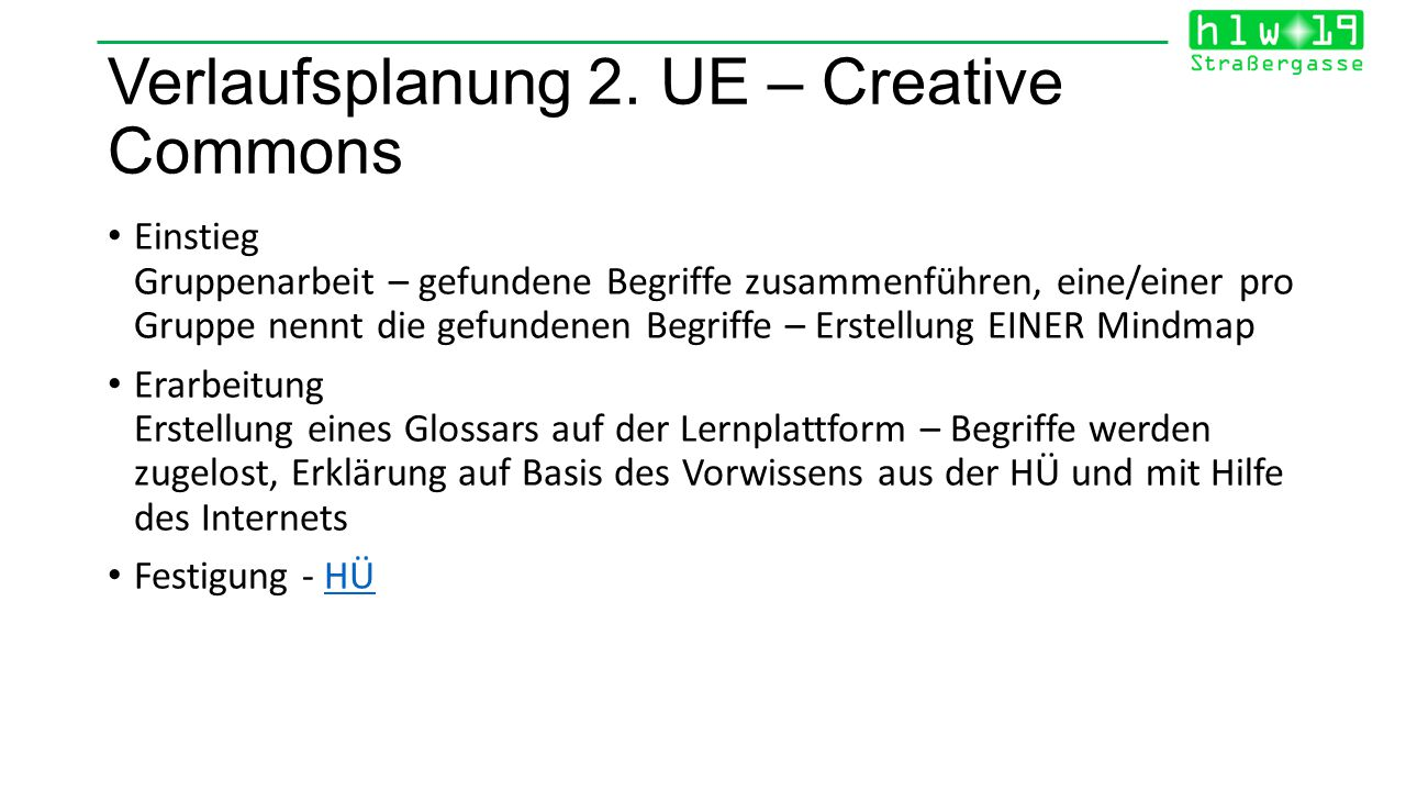 Verlaufsplanung 2. UE – Creative Commons