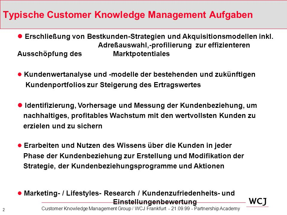 Typische Customer Knowledge Management Aufgaben