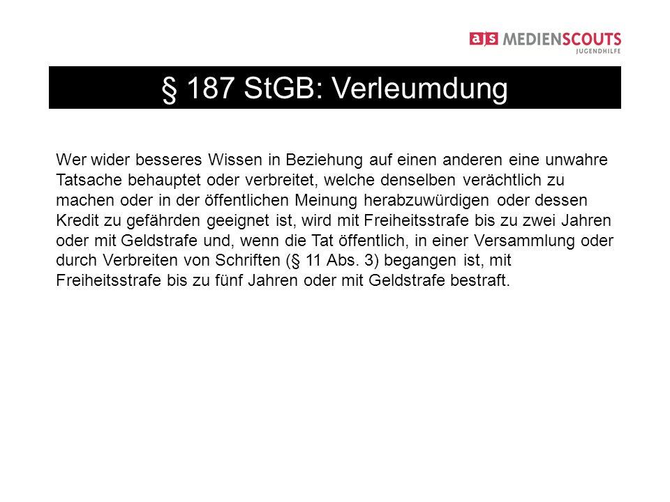 § 187 StGB: Verleumdung