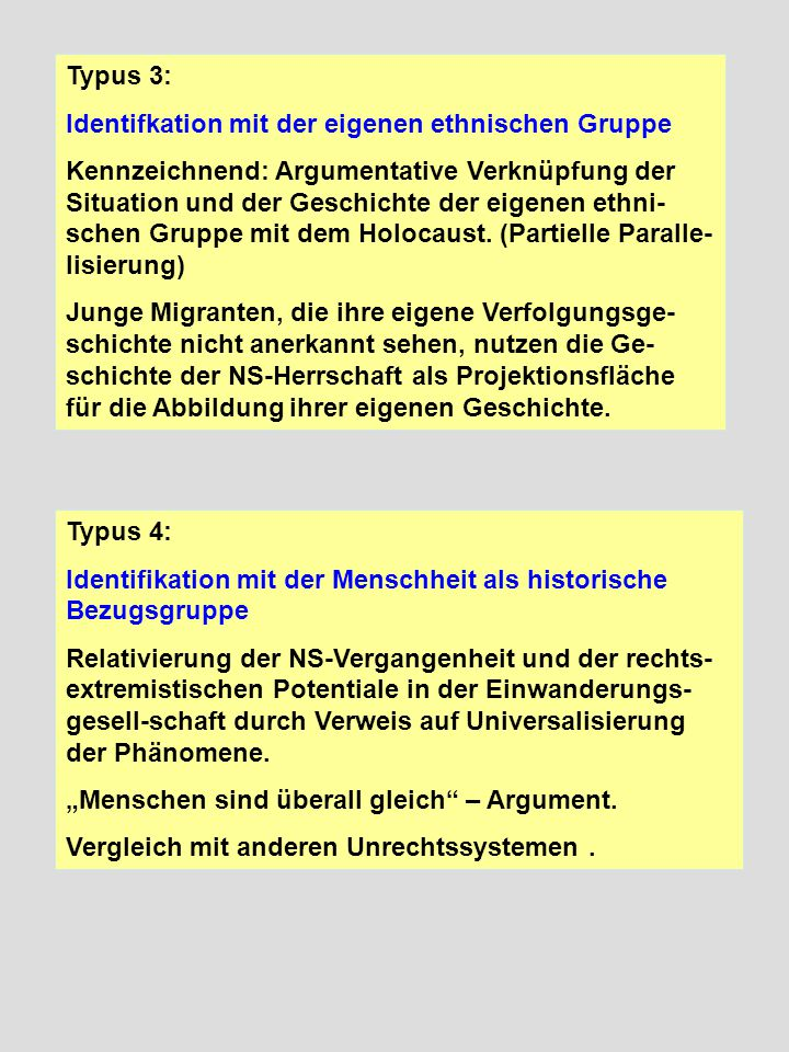 Typus 3: Identifkation mit der eigenen ethnischen Gruppe.