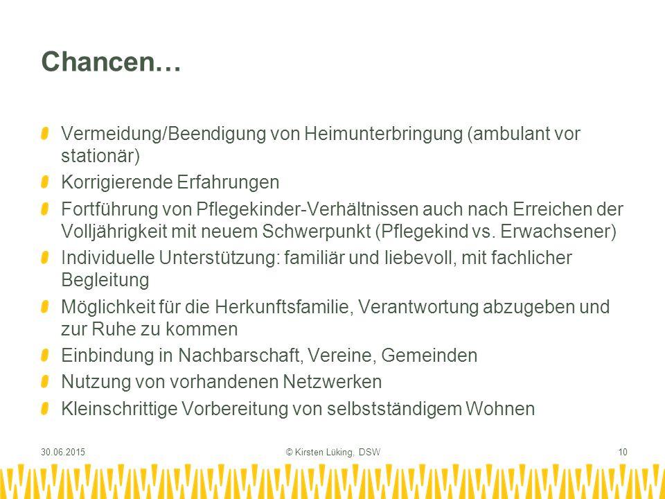 Chancen… Vermeidung/Beendigung von Heimunterbringung (ambulant vor stationär) Korrigierende Erfahrungen.