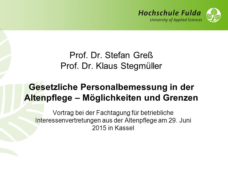 Prof. Dr. Stefan Greß Prof. Dr