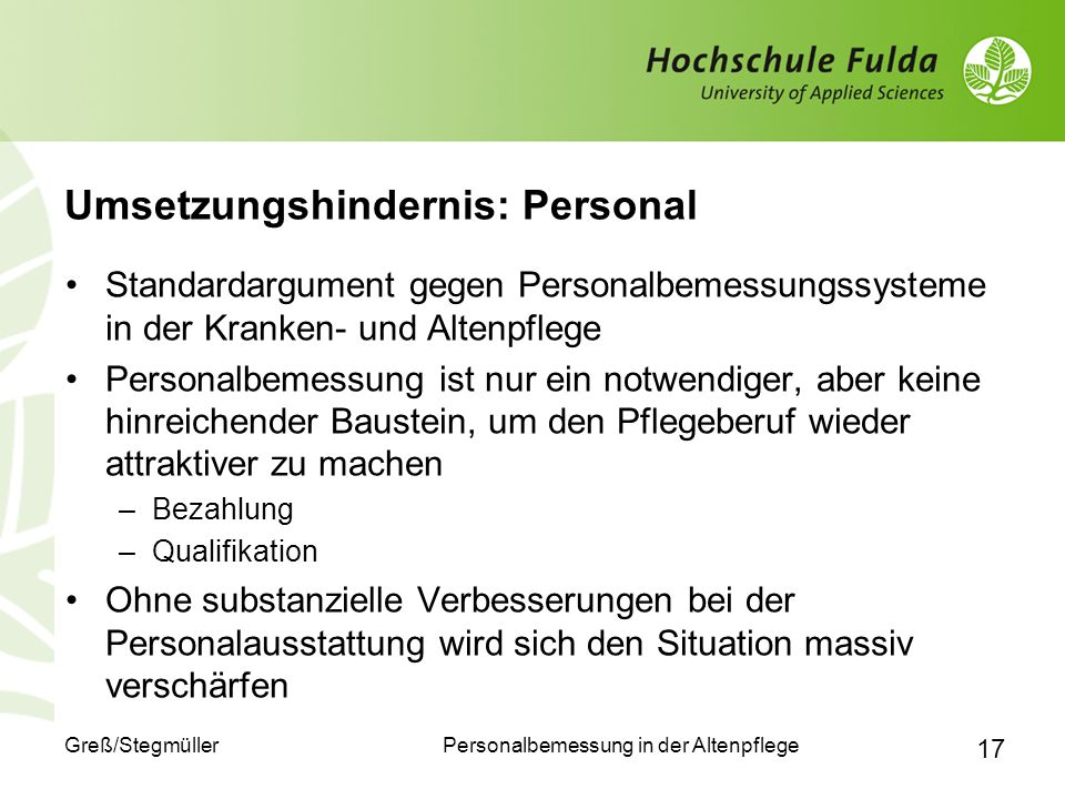 Umsetzungshindernis: Personal