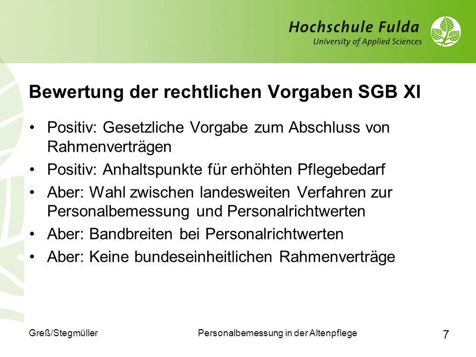 Bewertung der rechtlichen Vorgaben SGB XI