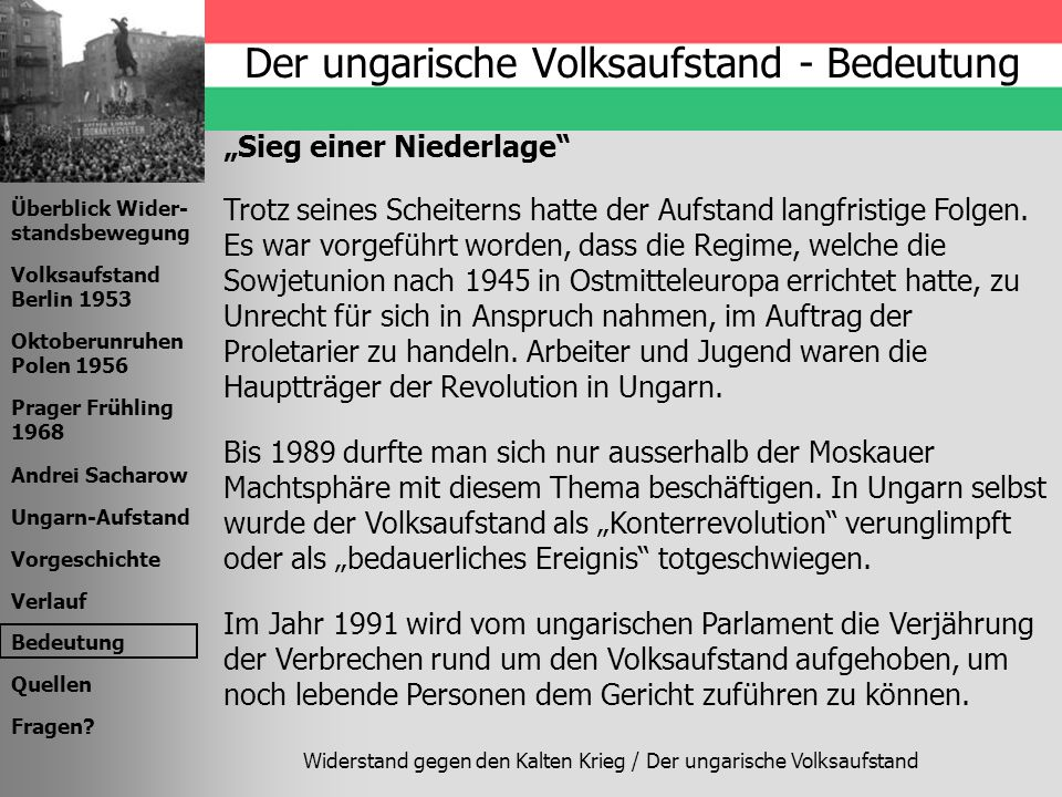 Der ungarische Volksaufstand - Bedeutung