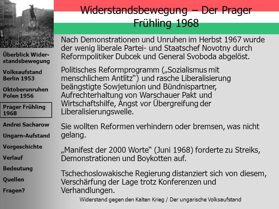 Widerstandsbewegung – Der Prager Frühling 1968
