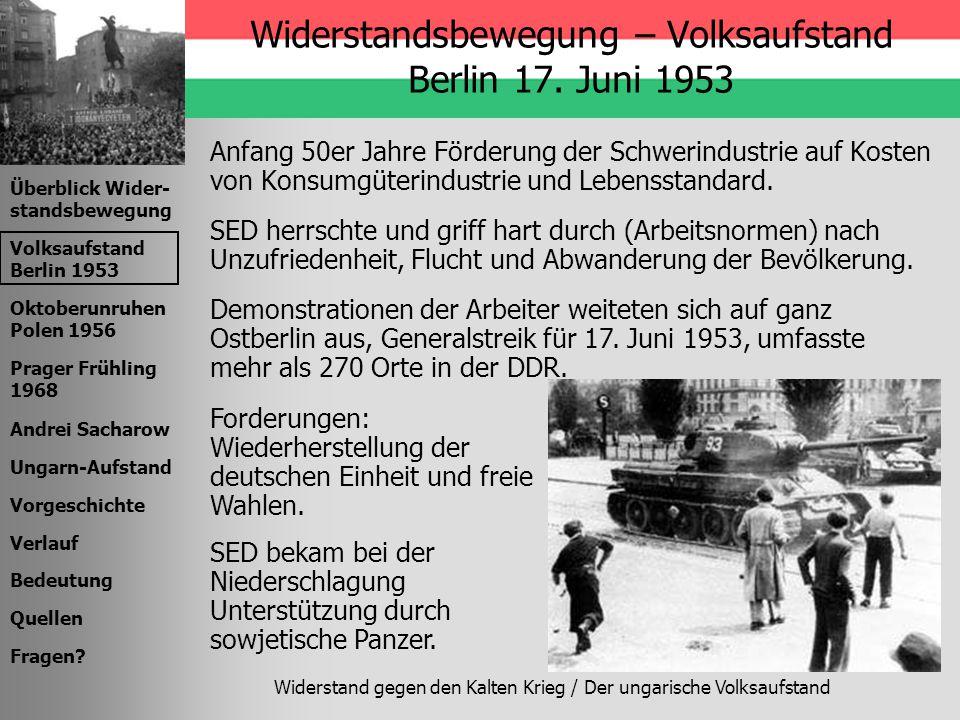 Widerstandsbewegung – Volksaufstand Berlin 17. Juni 1953