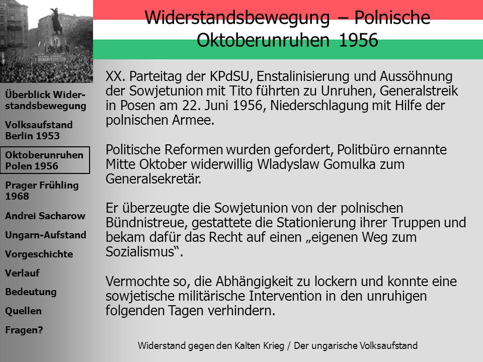 Widerstandsbewegung – Polnische Oktoberunruhen 1956