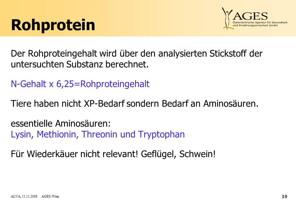 Rohprotein Der Rohproteingehalt wird über den analysierten Stickstoff der untersuchten Substanz berechnet.
