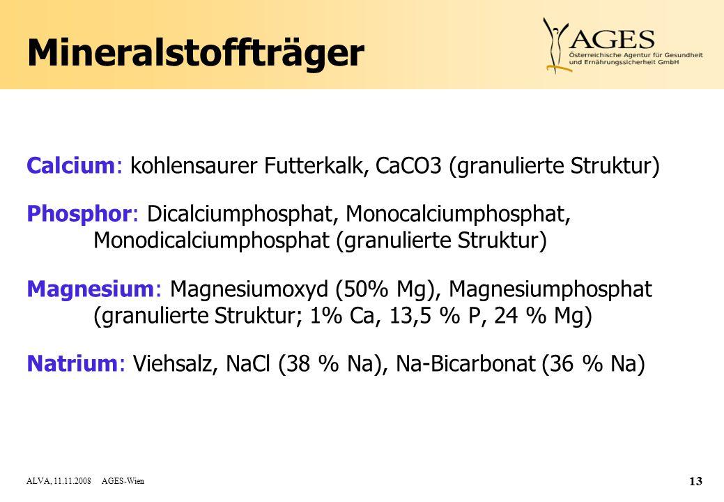 Mineralstoffträger Calcium: kohlensaurer Futterkalk, CaCO3 (granulierte Struktur)