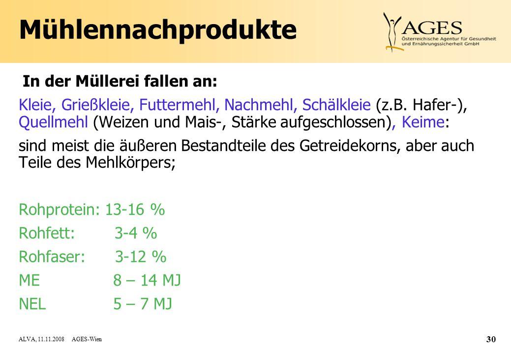 Mühlennachprodukte In der Müllerei fallen an: