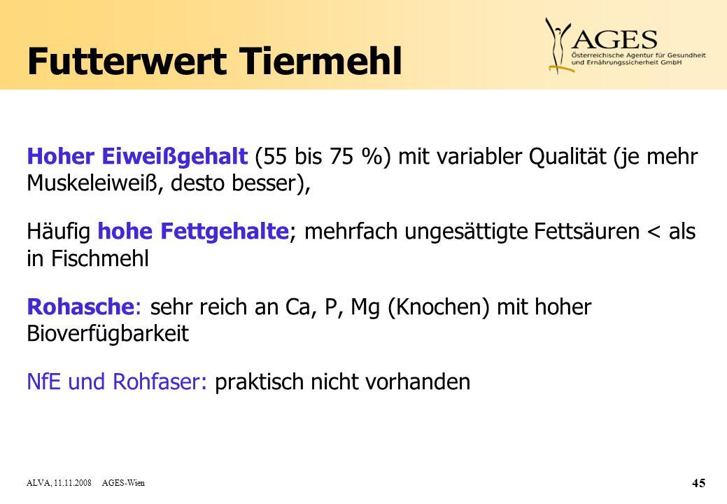 Futterwert Tiermehl Hoher Eiweißgehalt (55 bis 75 %) mit variabler Qualität (je mehr Muskeleiweiß, desto besser),