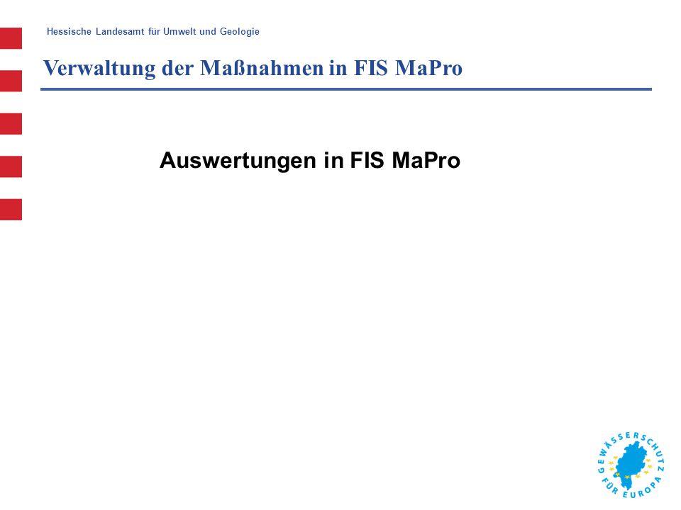 Verwaltung der Maßnahmen in FIS MaPro
