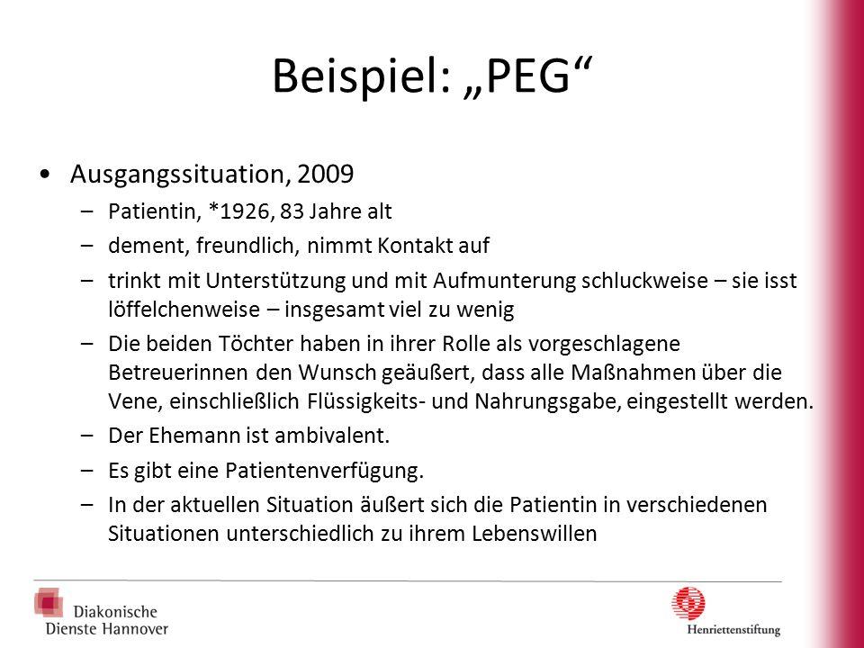 """Beispiel: """"PEG Ausgangssituation, 2009 Patientin, *1926, 83 Jahre alt"""
