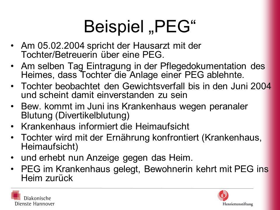"""Beispiel """"PEG Am 05.02.2004 spricht der Hausarzt mit der Tochter/Betreuerin über eine PEG."""