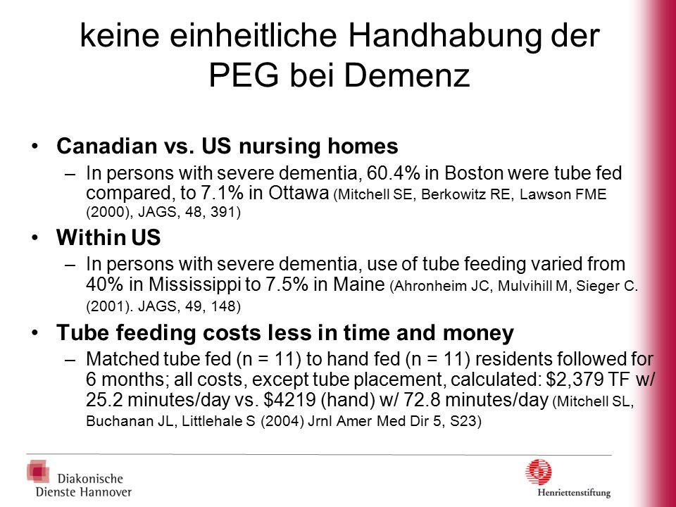 keine einheitliche Handhabung der PEG bei Demenz