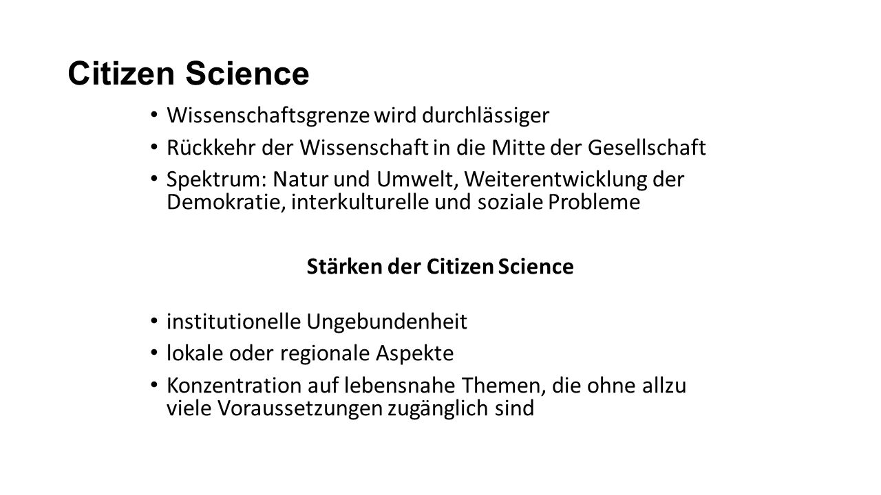 Stärken der Citizen Science