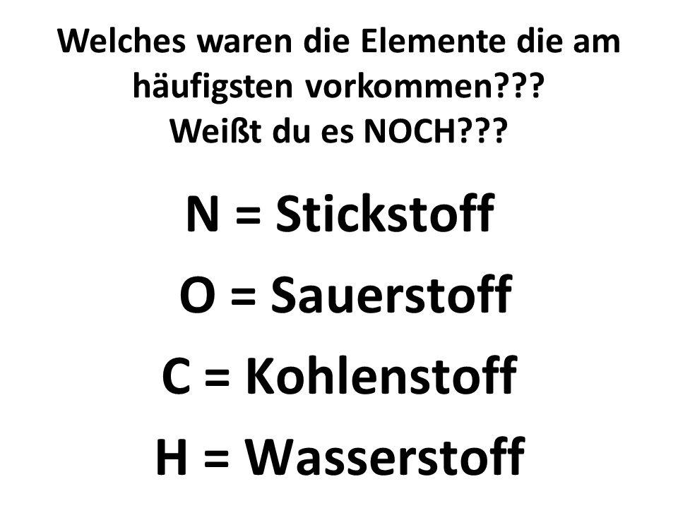 NOCH N = Stickstoff O = Sauerstoff C = Kohlenstoff H = Wasserstoff