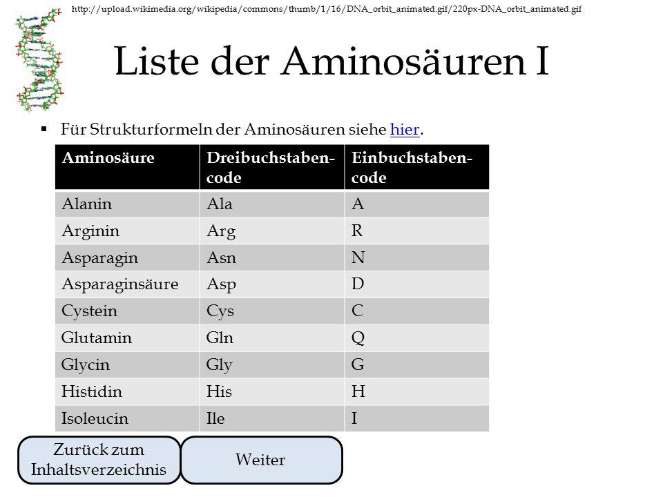 Liste der Aminosäuren I