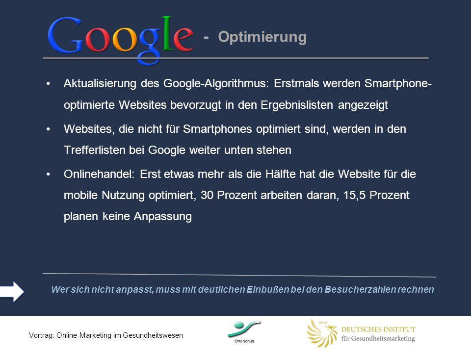 - Optimierung Aktualisierung des Google-Algorithmus: Erstmals werden Smartphone-optimierte Websites bevorzugt in den Ergebnislisten angezeigt.