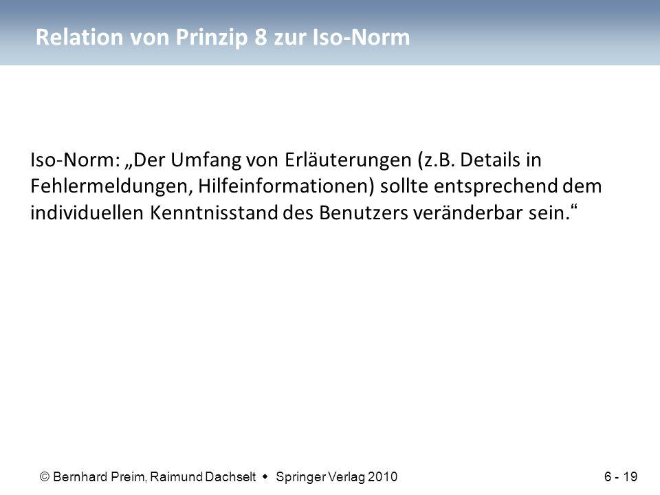 Relation von Prinzip 8 zur Iso-Norm