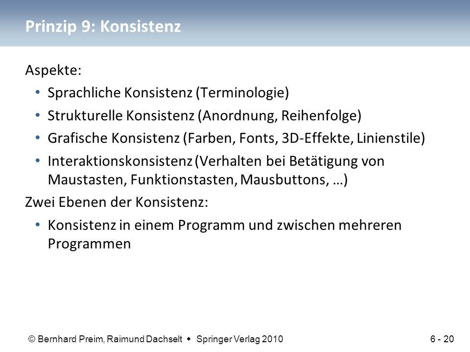 Prinzip 9: Konsistenz Aspekte: Sprachliche Konsistenz (Terminologie)