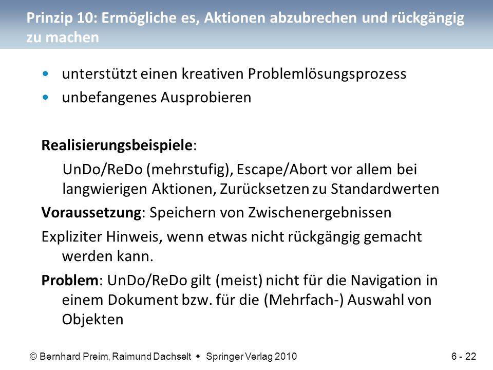 Prinzip 10: Ermögliche es, Aktionen abzubrechen und rückgängig zu machen