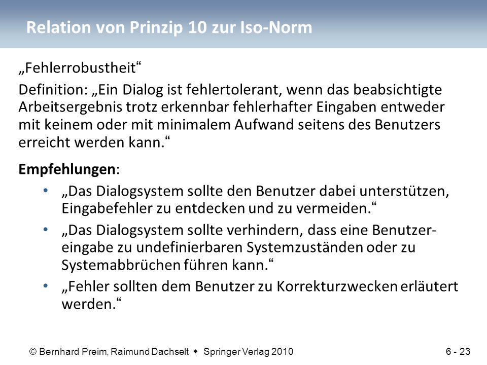 Relation von Prinzip 10 zur Iso-Norm