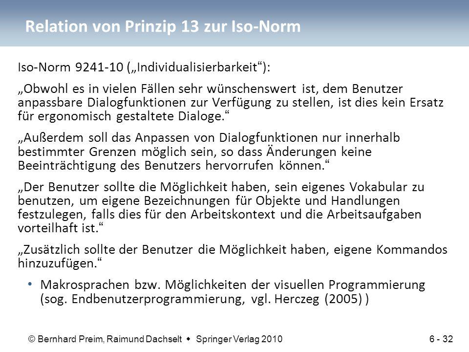 Relation von Prinzip 13 zur Iso-Norm