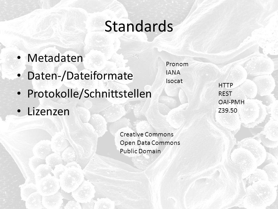 Standards Metadaten Daten-/Dateiformate Protokolle/Schnittstellen
