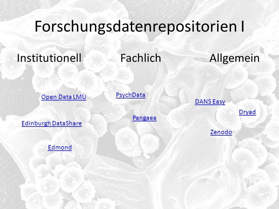 Forschungsdatenrepositorien I