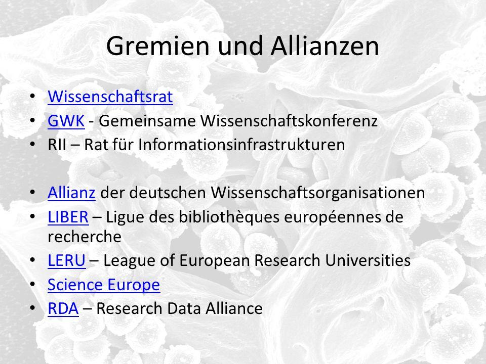 Gremien und Allianzen Wissenschaftsrat