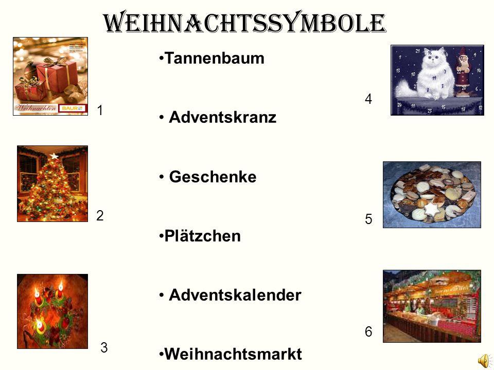 Weihnachtssymbole Tannenbaum Adventskranz Geschenke Plätzchen