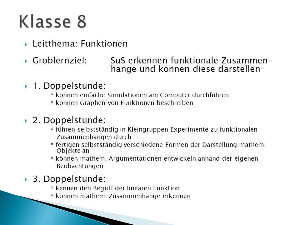 Klasse 8 Leitthema: Funktionen