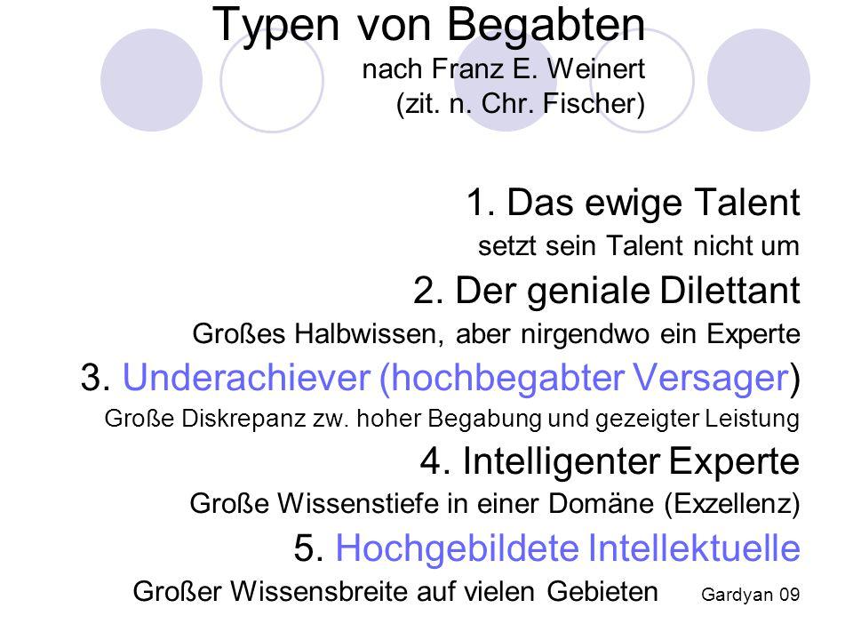Typen von Begabten nach Franz E. Weinert (zit. n. Chr. Fischer)