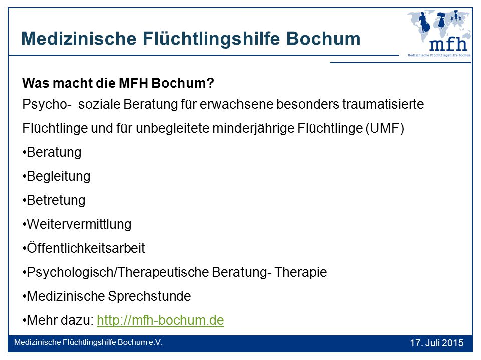 Medizinische Flüchtlingshilfe Bochum