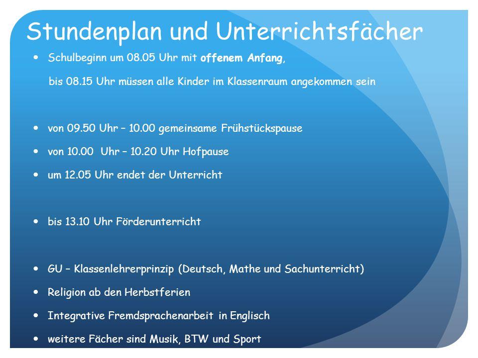 Stundenplan und Unterrichtsfächer