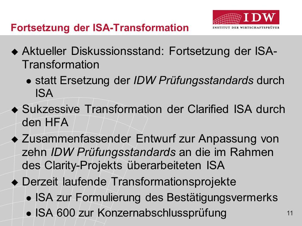 Fortsetzung der ISA-Transformation