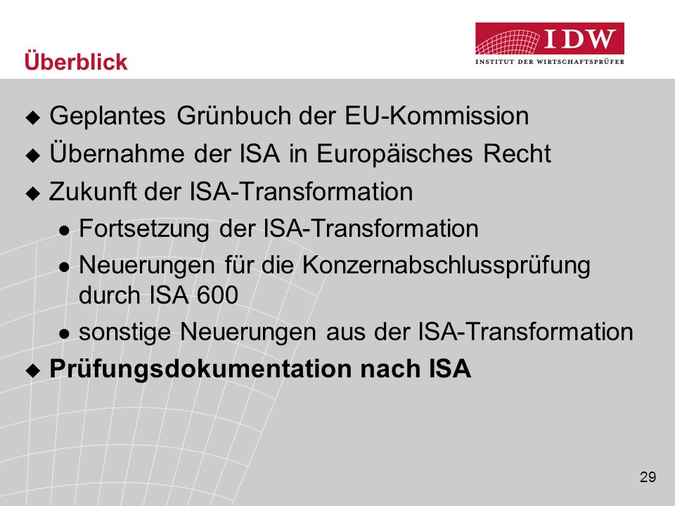 Geplantes Grünbuch der EU-Kommission