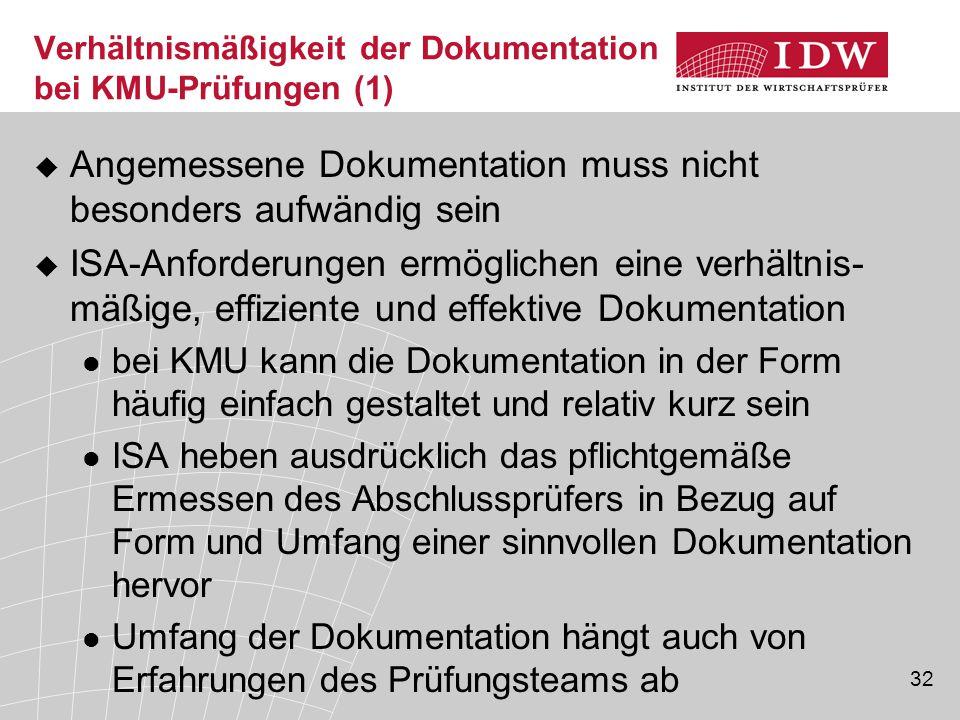 Verhältnismäßigkeit der Dokumentation bei KMU-Prüfungen (1)