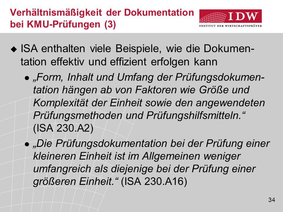Verhältnismäßigkeit der Dokumentation bei KMU-Prüfungen (3)