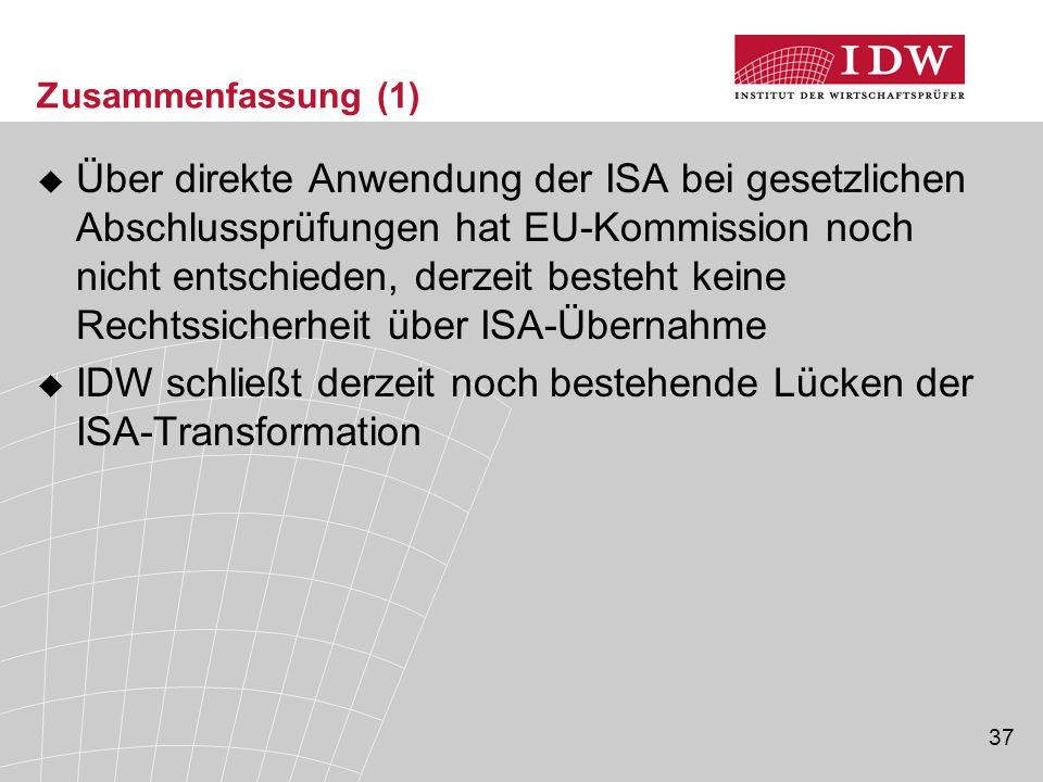 IDW schließt derzeit noch bestehende Lücken der ISA-Transformation