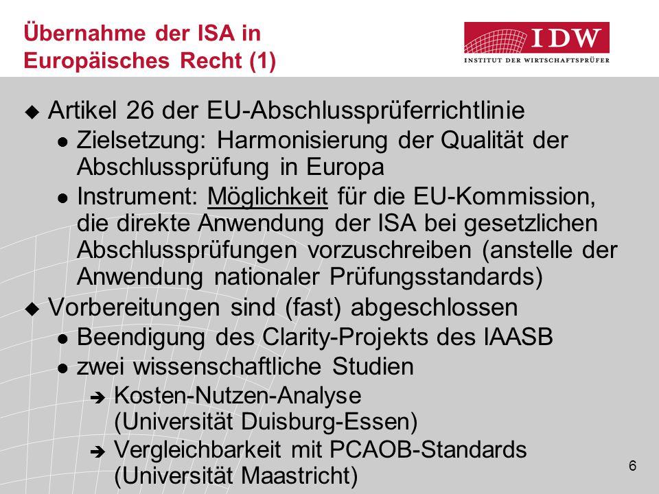 Übernahme der ISA in Europäisches Recht (1)